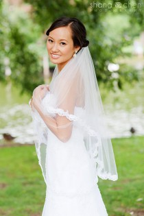 wedding photo - Bridal Veil,  Two tier,  Scalloped Lace Edge, Beaded Lace, white or ivory
