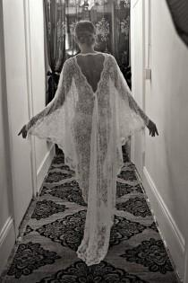 wedding photo - Exclusive Embroidered French Lace Bridal Robe Nightgown Wedding Sleepwear Bridal Lingerie Bridal Robe Paris Chic Runway Collection