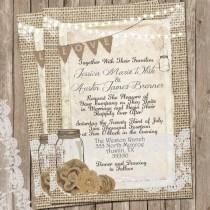 wedding photo - Rustic Burlap and Lace Wedding Invitation, Invite, Mason Jar, Printable, Digital File, Personalized, 5x7,