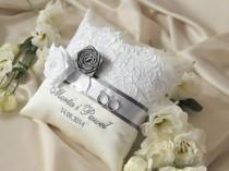 wedding photo - Lace Wedding Pillow, Grey lace Wedding Ring Pillow,   Ring Bearer Pillow Embroidery Names