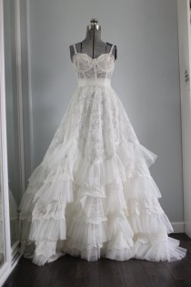 wedding photo - Wedding Dress Bohemian Romantic Long Bustier wedding gown Chiffon Vintage Lace-  Breathtaking Ready to Ship