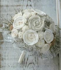 wedding photo - Lace Rustic Cream Ivory Bride's Alternative Wedding Bouquet - Sola Wood, Wildflowers, Paper Flowers, Fabric  Flowers, Burlap Rosettes