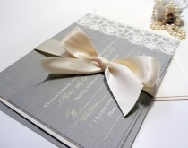 wedding photo - Vintage Lace Wedding Invitation in Yellow and Grey, The Taylor Sample with Ribbon