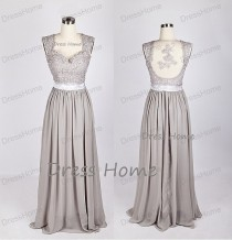 wedding photo - Grey Lace Prom Dress/Long A Line Prom Dress/Open Back Chiffon Prom Dress/Bridesmaid Dress/Homecoming Dress/Party Dress/Prom Dress DH131