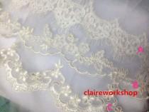wedding photo - Custom length soft tulle flower lace wedding veil IVORY / White bride wedding veils floor length fingertip length church length any length
