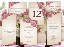 wedding photo - Printable set of  Wedding templates: invitation, RSVP card, program, menu, table number and place card Vintage Red lace pattern by Oxee