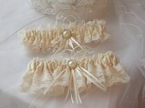 wedding photo - Wedding Garter Set - Ivory Garters with Beautiful Ivory Raschel Lace