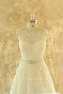 wedding photo - Ivory A line lace wedding dress,bridal gown with elegant beading sash