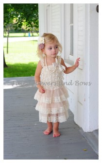 wedding photo - Champagne  Rustic Lace Chiffon Dress with Matching Headband...Flower Girl Dress, Wedding Dress, Baptism Dress  (Infant, Toddler, Child)