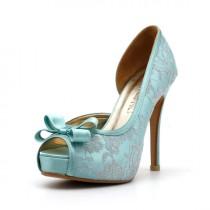 wedding photo - Lady Catherine, Tiffany Blue Wedding Heels, Robbin Blue Egg Wedding Shoes with Lace,  Something Blue Wedding Heels, Mint Green Wedding Shoes