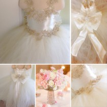 wedding photo - EDITA GOWN - Flower Girl Dress - Lace Dress - Girls Lace Dress - Big Bow Dress - Wedding Dress by Isabella Couture