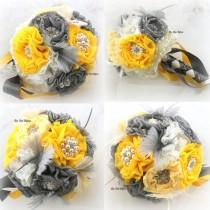 wedding photo - Brooch Bouquet  Vintage-Style in Ivory, Yellow and Charcoal Gray, Pewter with Feathers, Lace and Brooches