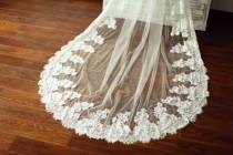 wedding photo - Alencon Lace Veil/Bridal Veil/Wedding Veil/Mantilla Veil/3M Long Cathedral Veil/Eyelash Lace Veil/Comb Veil