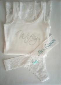 wedding photo - Boudoir Set: Wifey Lace Tank Set w/ Customized Thong - White Lace Lounge Set - Future Last Name