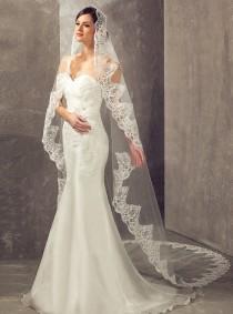 wedding photo - Exclusive Embroidery Alencon lace Cathedral Length wedding Veil, Bridal lace veil, Ivory floor length bridal veil, 3M Mantilla Drop veil