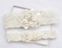 wedding photo - Ivory Lace Garter Set - Wedding Bridal Garter Set, Garter Set, Wedding Garter Belt, Bridal Garters, Ivory Garter Set