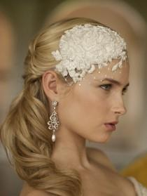 wedding photo - Mariell Lace And Silk Bridal Cocktail Hat With Netting 3912H
