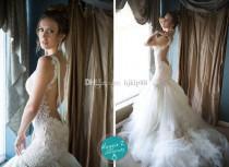 wedding photo - Latest Galia Lahav 2014 Lace Wedding Dresses With Spaghetti Backless Beading Mermaid Court Train Tulle New Sexy Hot Glamorous Bridal Gowns, $121.47