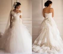 wedding photo - Custom 2015 New Arrival Yasmine Yeya Sexy Wedding Dresses Detachable Sweetheart Lace/Tulle Bridal Gown Chapel Train Garden Wedding Dress, $120.95