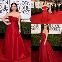wedding photo - New Arrival Catherine Zeta-Jones 2015 Evening Dresses Celebrity Red Carpet Dresses 72th Golden Globe Award Red Strapless Satin Party Ball, $88.7