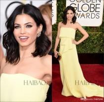 wedding photo - 72th Annual Golden Globe Awards Evening Dresses Red Carpet Celebrity Dresses Yellow Chiffon Strapless A-line Sweep Train Party Formal Prom, $88.7