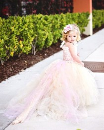 wedding photo - Reserved For Kaley Turner--Lace Flower Girl Dress W Tutu And Detachable Train--Pink Champagne--Perfect For Weddings, Pageants And Portraits