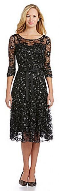 wedding photo - S.L. Fashions Illusion Metallic Lace Dress