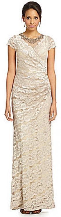wedding photo - Decode 1.8 Faux-Wrap Lace Gown
