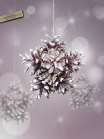 wedding photo - Pine Cones Snowflake Ornament Nature And Original Decor For Christmas Tree