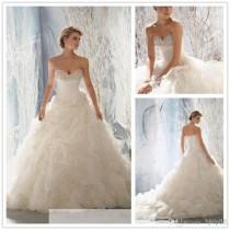 wedding photo - 2014 New Arrival Strapless Ruffles Wedding Dresses Beaded Pearls Bridal Gown White/Ivory Organza Wedding Dress Lace Up Handmade Flowers Online with $135.46/Piece on Hjklp88's Store