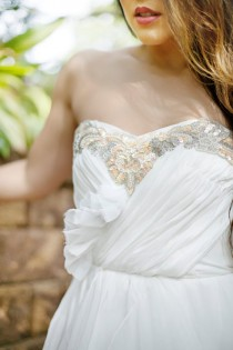 wedding photo - Wedding Dress- Beaded Sequins Strapless  Bustier Chiffon Bohemian- Bello Gown White Sample Ready To Ship