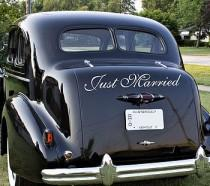 wedding photo - Just Married - Car Decal Sign