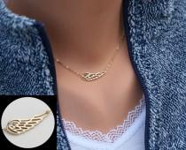 wedding photo - Angel Wing necklace,Gold Wing delicate necklace,Memory wing necklace,Bridesmaid gifts,Everyday jewelry,Wedding bridal Jewelry