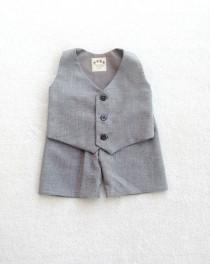 wedding photo - Boys Vest Set, Baby Vest Set, Heather Gray, Infant Vest Set, Vest and Shorts, Ring Bearer Set, Ring Boy outfit, Baby boy suit