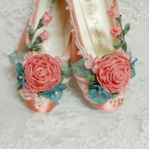 wedding photo - Coral Ballet Flats, Wedding Flats, Coral Ballet Slippers, Flower Girl Shoes, Ballet Wedding Shoes