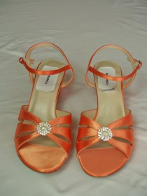 wedding photo - Orange WEDDING Shoes B W WW width comfortable heel 200 colors