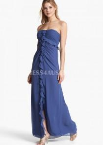 wedding photo - Royal Blue Strapless Front Split Floor Length Chiffon Bridesmaid Dresses
