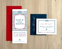 """wedding photo - Nautical Wedding Save The Dates, Navy Striped Save The Dates, Red, White And Blue Wedding - """"Stars & Stripes"""" Save The Dates"""