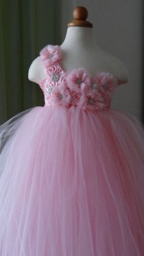 wedding photo - Flower Girl Dress.... Rosette Flower Girl Tutu Dress.... Tulle Dress