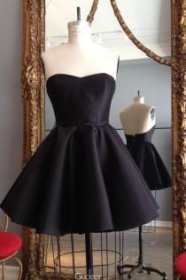 wedding photo - Little Black Strapless Sweetheart Low Back Short Pleated Bridesmaid Dress