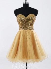 wedding photo - Modern Gold Sequin Strapless Sweetheart Bridesmaid Dress