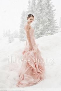 wedding photo - Beautiful Blush Strapless Ruched Mermaid Organza Winter Wedding Dress