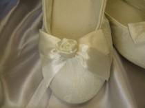 wedding photo - Wedding Shoes Ivory Ballet Flats Satin Rose Ivory Lace Flat Ballet Shoes White Ballet Flats