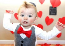 wedding photo - Baby Boy Clothes - Baby Bow Tie With Vest  - Baby Boy Valentine's Day Outfit - Red Bow Tie - Coming Home Outfit - Ring Bearer - Boys Wedding