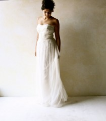 wedding photo - Bridal Gown, Strapless Wedding Dress, Silk wedding Dress, Fairy wedding gown, Long wedding dress, Alternative, Boho Wedding dress, LoreTree