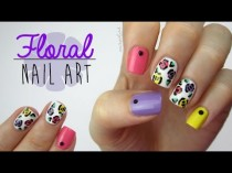 wedding photo - Colorful Floral Nails (Using A Toothpick!)