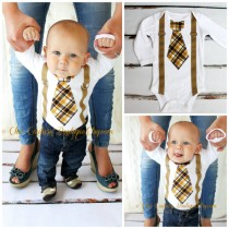 wedding photo - Baby Boy 1st Birthday Outfit Tie Bodysuit and Suspenders. Cake Smash Wedding Ring Bearer Suspender Tan Yellow Fall Plaid