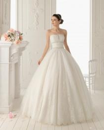 wedding photo - 2014 New Arrival Organza Strapless Beading Appliques Sweep Train Ruched Backless Lace Hot Sale Custom-made Ball Gown Dresses Online with $117.28/Piece on Hjklp88's Store