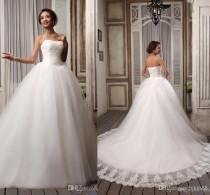 wedding photo - Hot Sell Elegant Popular Ribbons Strapless White Embroidery Tulle Ball Gown Wedding Dresses Court Train Lace-up Bridal Gown 2014 Online with $98.96/Piece on Hjklp88's Store