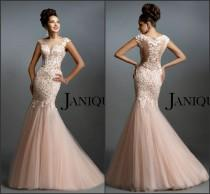 wedding photo - Newest Janique Blush Evening Dresses Mermaid Applique Lace Sheer Neck Tulle Pink Sweep Train Pageant Sleeveless Prom Party Dresses Gowns, $117.72
